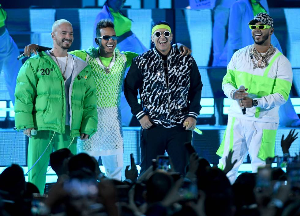 J Balvin, Ozuna, Daddy Yankee y Anuel AA en la última gala de los premios Billboard Latin Music, celebrada el pasado mes de abril.