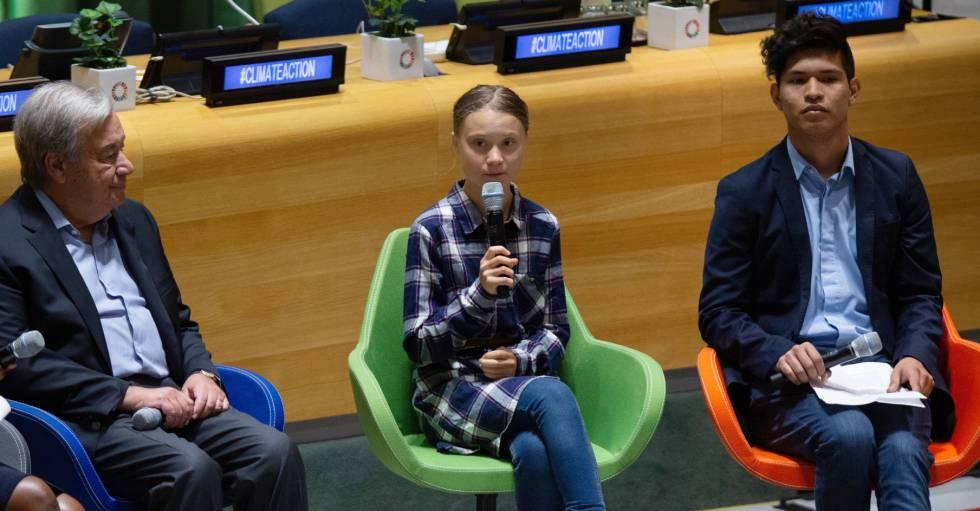Rodríguez junto a Greta Thunberg y Antonio Guterres en la ONU.