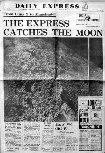 Capa do 'Daily Express' de Manchester com a primeira foto transmitida da Lua em fevereiro de 1966.