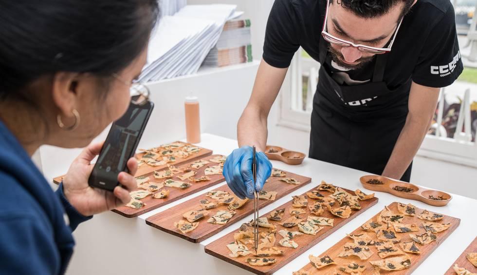 Un cocinero prepara la mesa con insectos fritos.