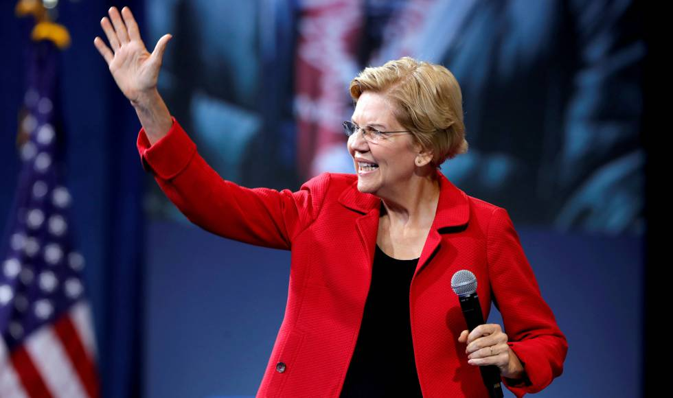 La precandidata demócrata Elizabeth Warren, en Las Vegas.