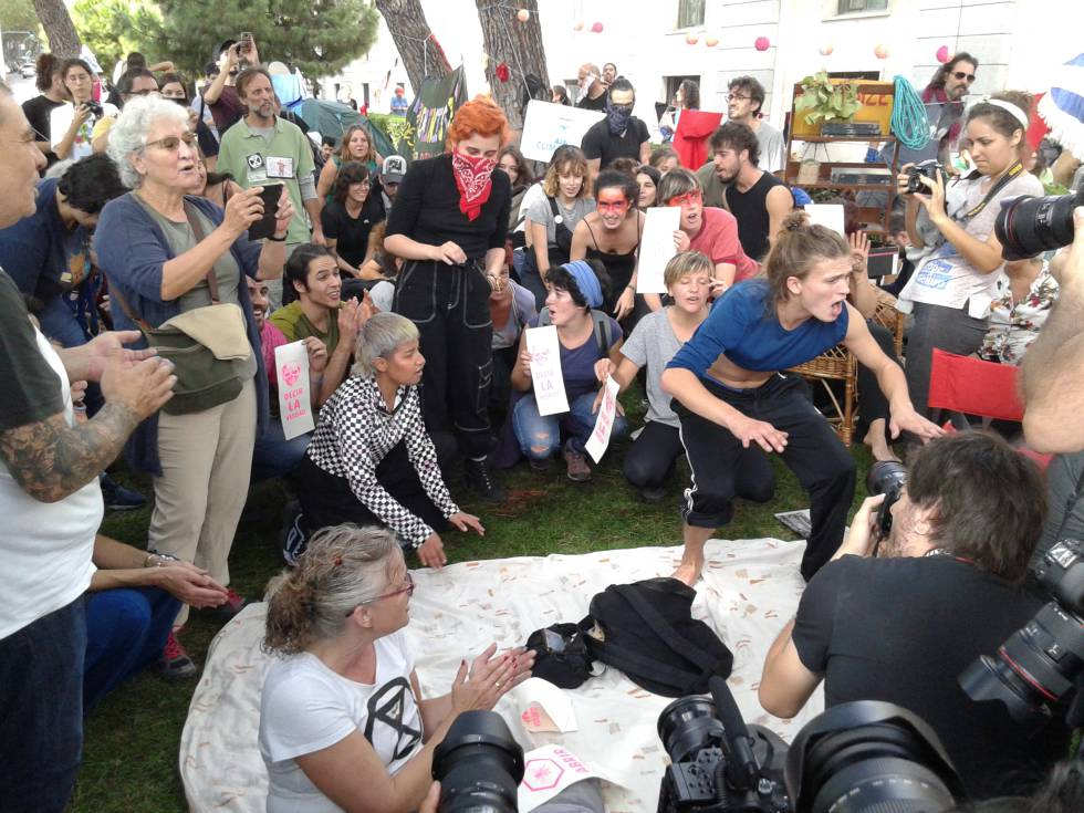 People of all ages gathered in front of the ministry in Madrid.