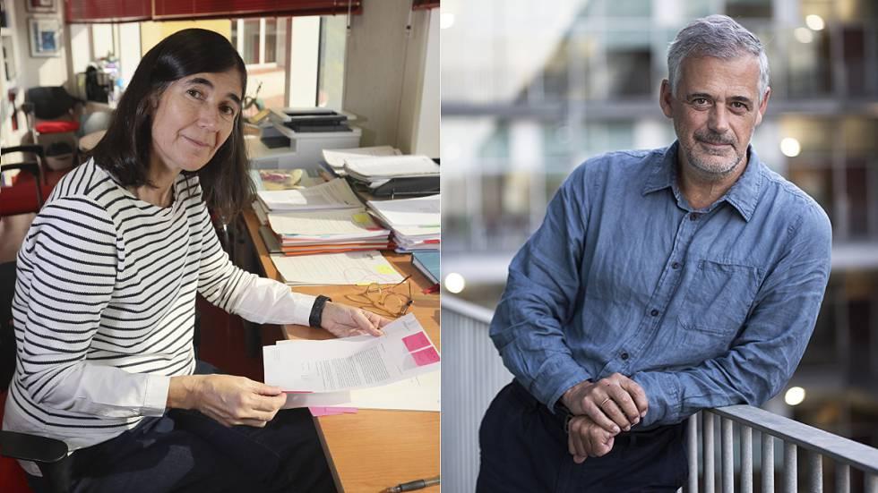 María Blasco, directora del CNIO, en Madrid. Luis Serrano, director del CRG, en Barcelona.