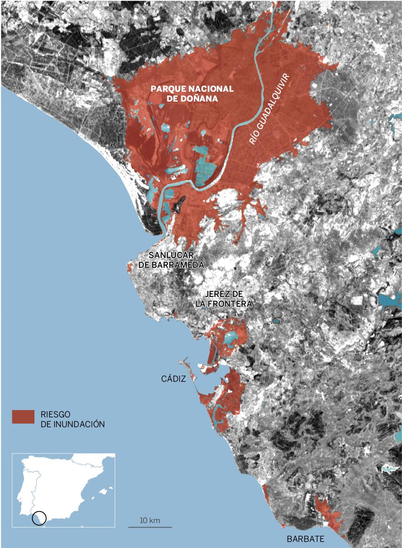 Doñana. Zonas en riesgo de inundación en 2050 si las emisiones de efecto invernadero crecen como hasta ahora y hay un nivel de deshielo alto.