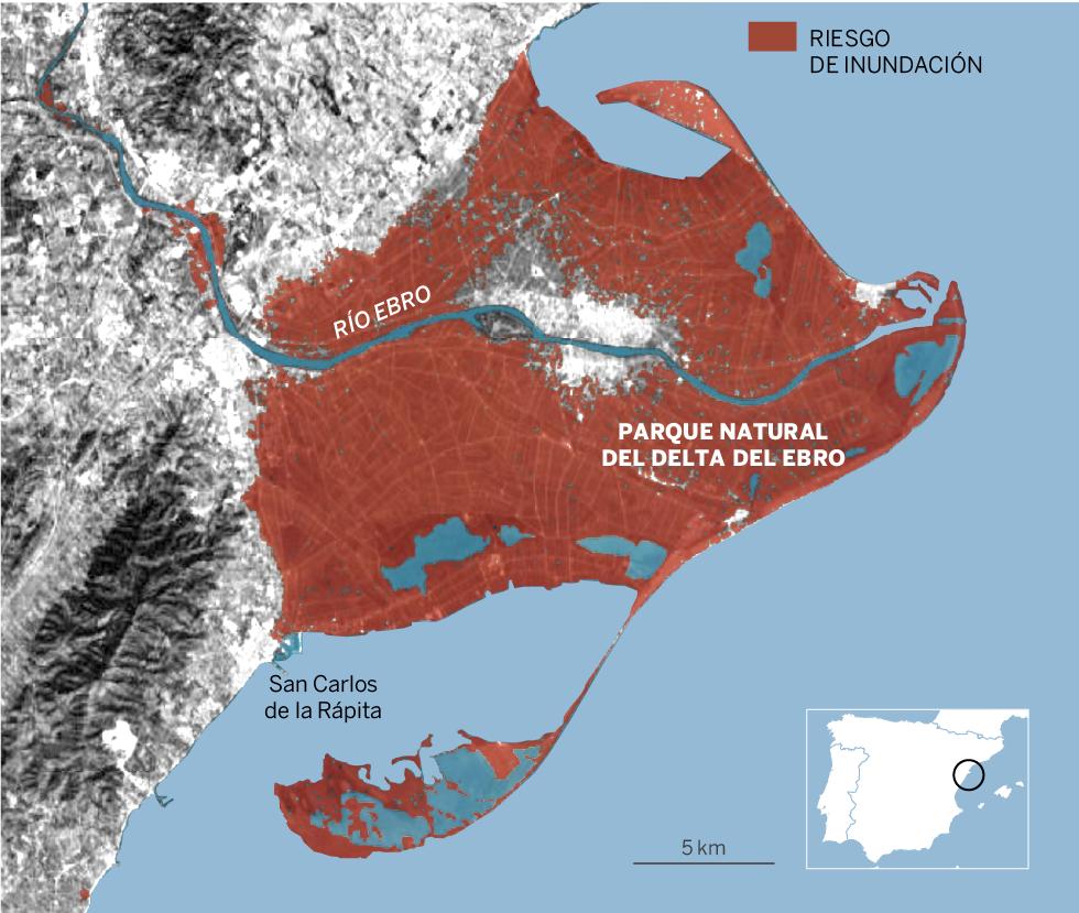Delta del Ebro. Zonas en riesgo de inundación en 2050 si las emisiones de efecto invernadero crecen como hasta ahora y hay un nivel de deshielo alto.