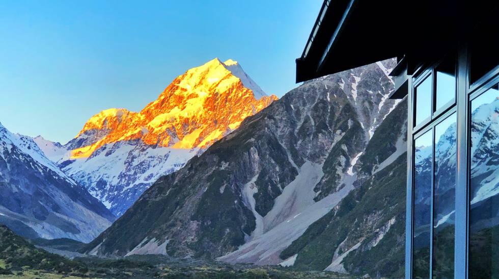 Atardecer en el monte Cook (3.724 metros), la cima más alta de Nueva Zelanda.