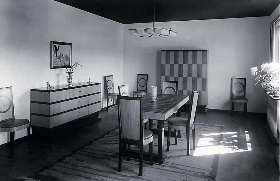 Comedor interior que la marca sueca Nordiska Kompaniet recreó para la Exposición de Estocolmo de 1930.