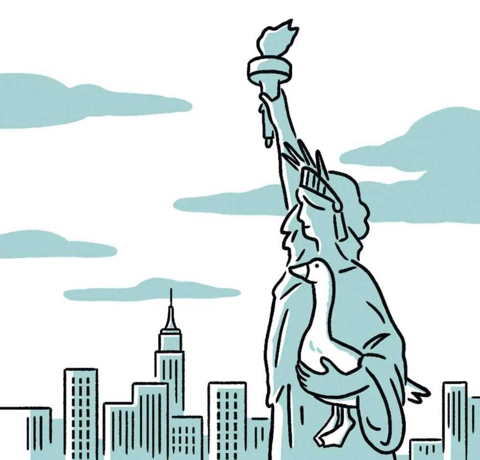 La Estatua de la Libertad, con una oca bajo el brazo.