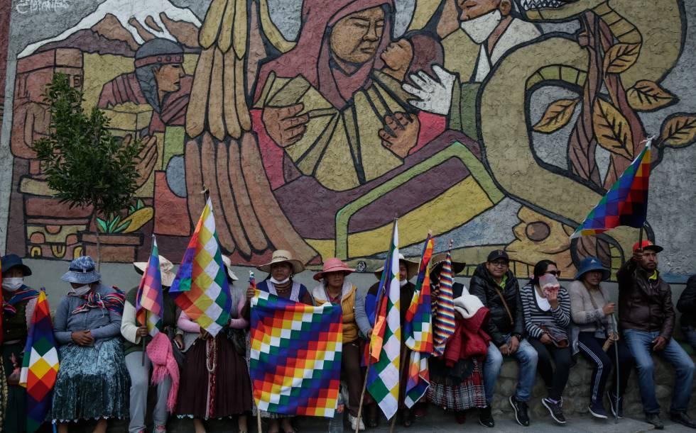 Simpatizantes de Evo Morales em La Paz em 14 de novembro.
