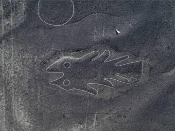 Imagen en alta resolución de un geoglifo en forma de pez.