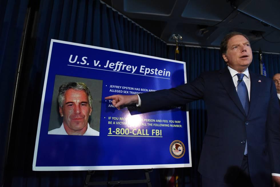 El fiscal federal del distrito sur de Nueva York, Geoffrey Berman, anuncia los cargos contra Jeffery Epstein, en julio.