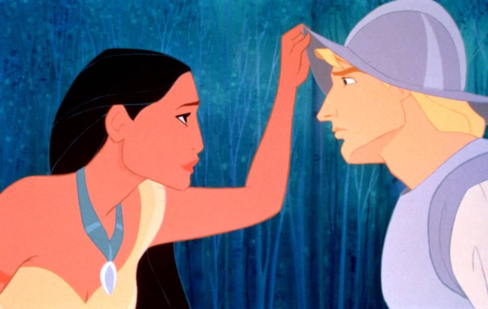 La película de Disney 'Pocahontas' cuenta la historia de amor entre una nativa norteamericana, Pocahontas, y un capitán inglés, John Smith.