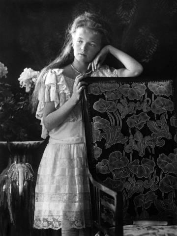 Retrato de Anastasia, la hija pequeña del zar ruso Nicolás II.