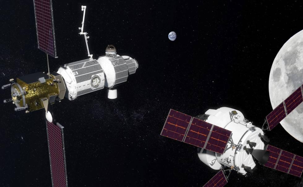 Recreación de la estación orbital lunar Gateway a la izquierda, con una cápsula Orion para transportar astronautas a la derecha.