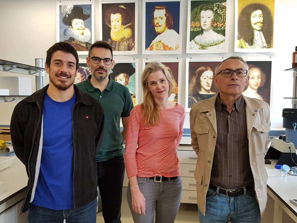 From left to right, geneticists Francisco Ceballos, Román Vilas and Gonzalo Álvarez, along with American artist Michelle Vaughan.