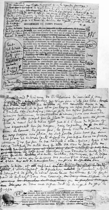 Manuscrito original de la obra de Proust 'En busca del tiempo perdido'.