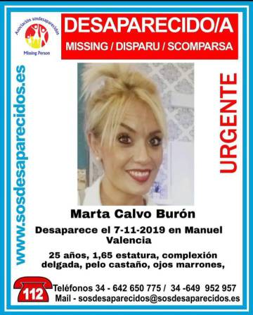 Missing persons poster for Marta Calvo.
