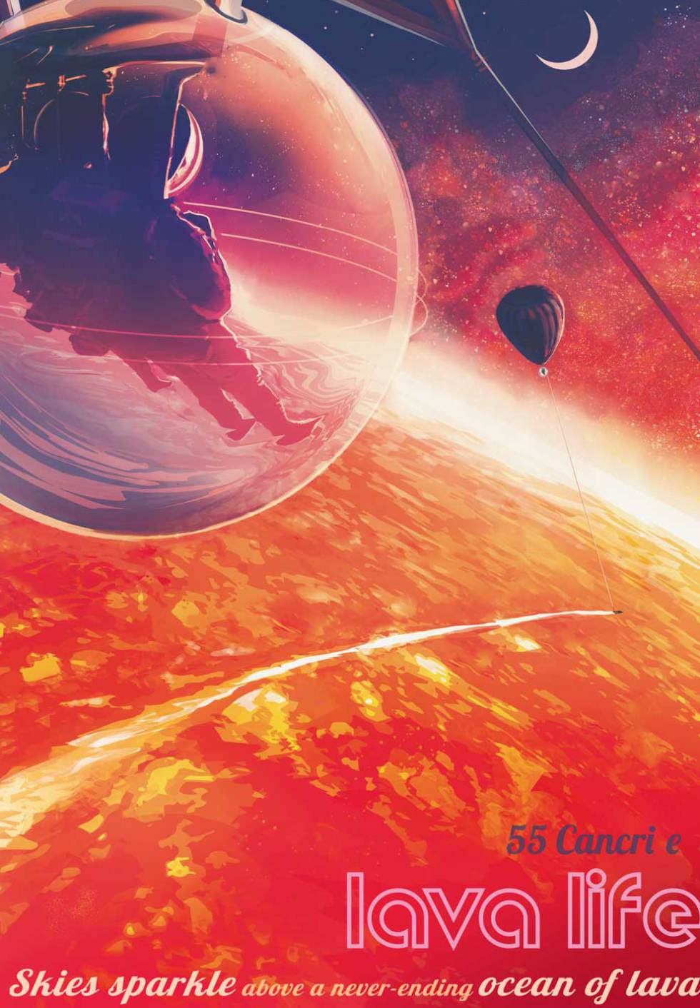 NASA promotional poster on a hypothetical trip to the lava oceans of exoplanet 55 Cancri e.
