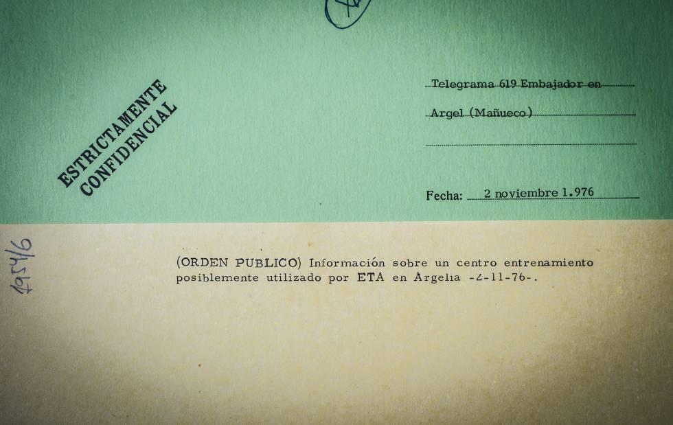 Un telegrama clasificado sobre ETA en Argelia en los años setenta.