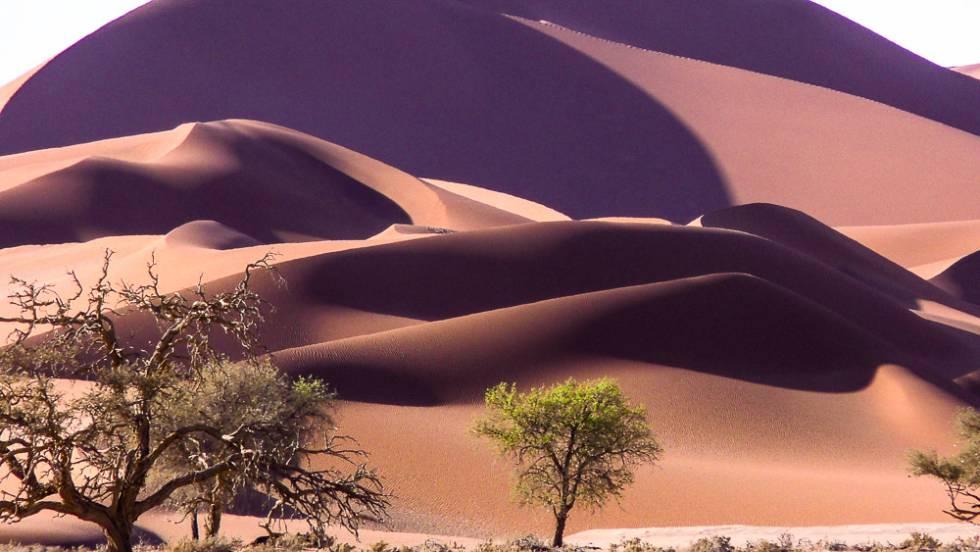 Dunas gigantes rojas en el desierto del Namib, el que da nombre a Namibia.
