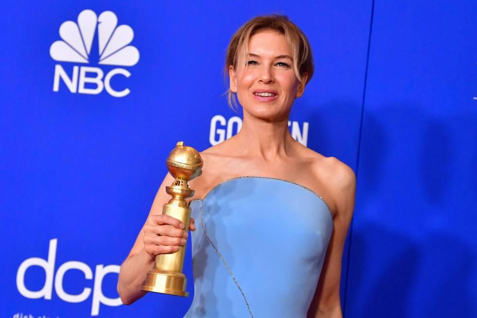 Renée Zellweger, con su Globo de Oro.