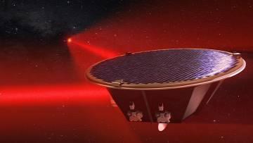 LISA ist eine Konstellation von drei Satelliten wie der in der Abbildung gezeigten