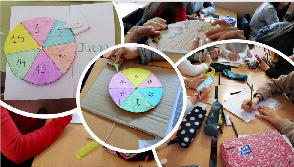 Una de las actividades del Proyecto #LebrijaSostenible para reforzar el aprendizaje de los ODS: Cada grupo tenía que diseñar una ruleta con material reciclado donde incorporar las preguntas que habían planteado anteriormente sobre los objetivos trabajados