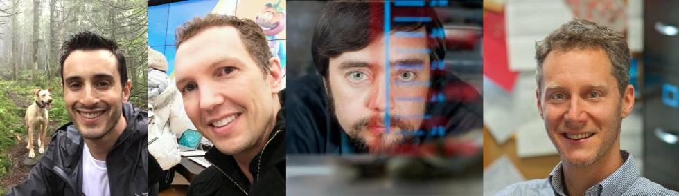Los científicos estadounidenses Sam Kriegman, Douglas Blackiston, Michael Levin y Josh Bongard.