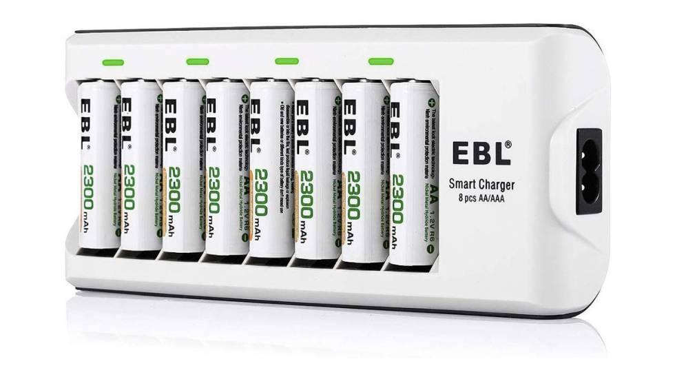 Pack de pilas recargables con cargador EBL