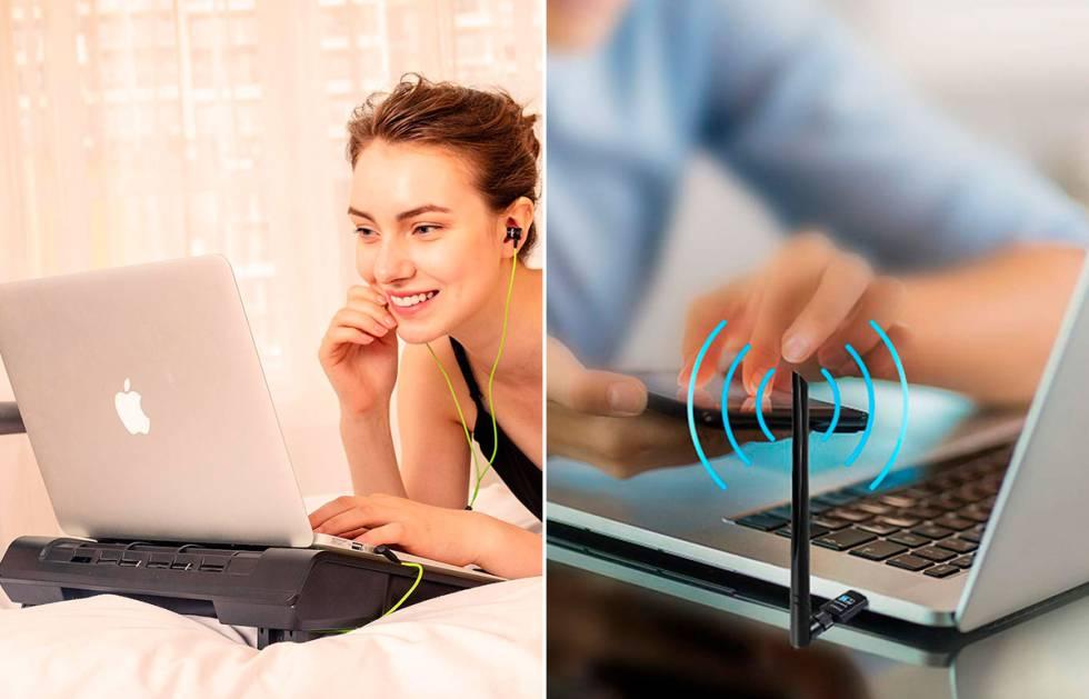 Routers, extensores y adaptadores Wi-Fi, bases de refrigeración, pilas recargables y otros accesorios de informática.