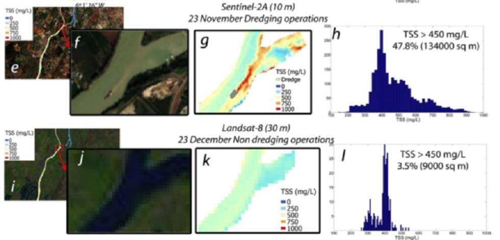 Bilder der Forschung zur Verwendung von 'Sentinel' zur Überwachung der Auswirkungen von Baggerarbeiten. Oben Daten, die mit dem Copernicus-Programmsatelliten erhalten wurden. Unten eine andere, die von älteren und niedrig aufgelösten Satelliten erhalten wurde.