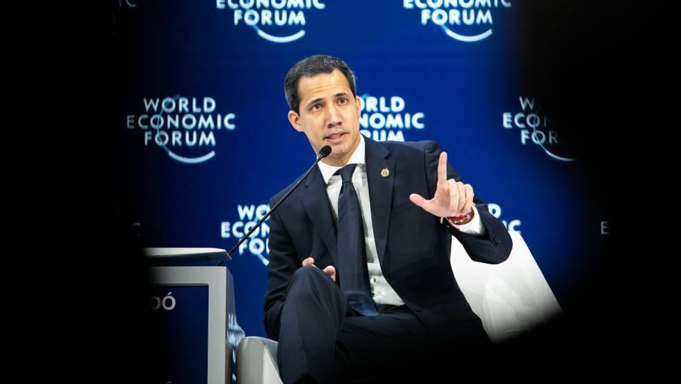 Juan Guaidó, durante su intervención en el foro de Davos.
