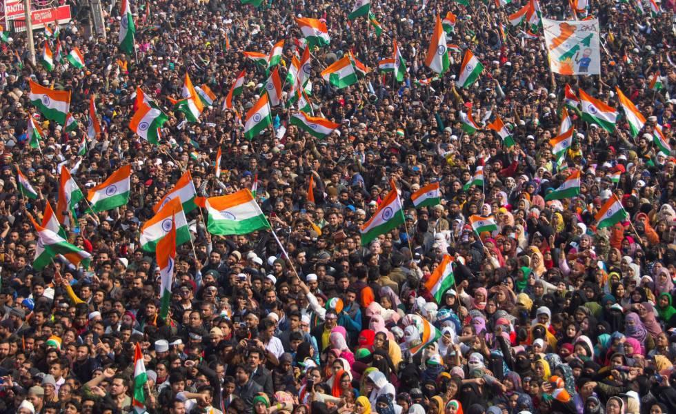 Protestas por la nueva ley ciudadana este domingo 26 de enero en Nueva Delhi.