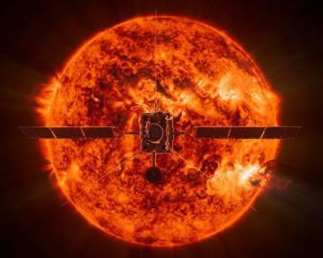Recreación de la 'Solar Orbiter' frente al Sol.