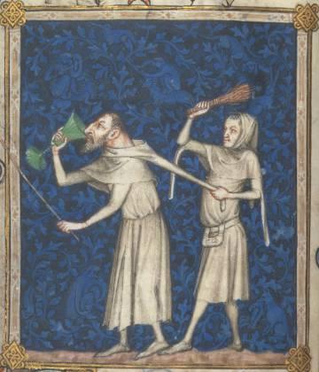 Detalle de una ilustración del salmo 52 del 'Libro de Horas y Salterio de Bonne de Luxemburgo', fechado en torno a 1340.