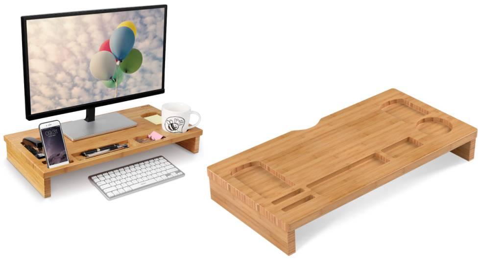 Soporte de bambú para monitor y accesorios de oficina