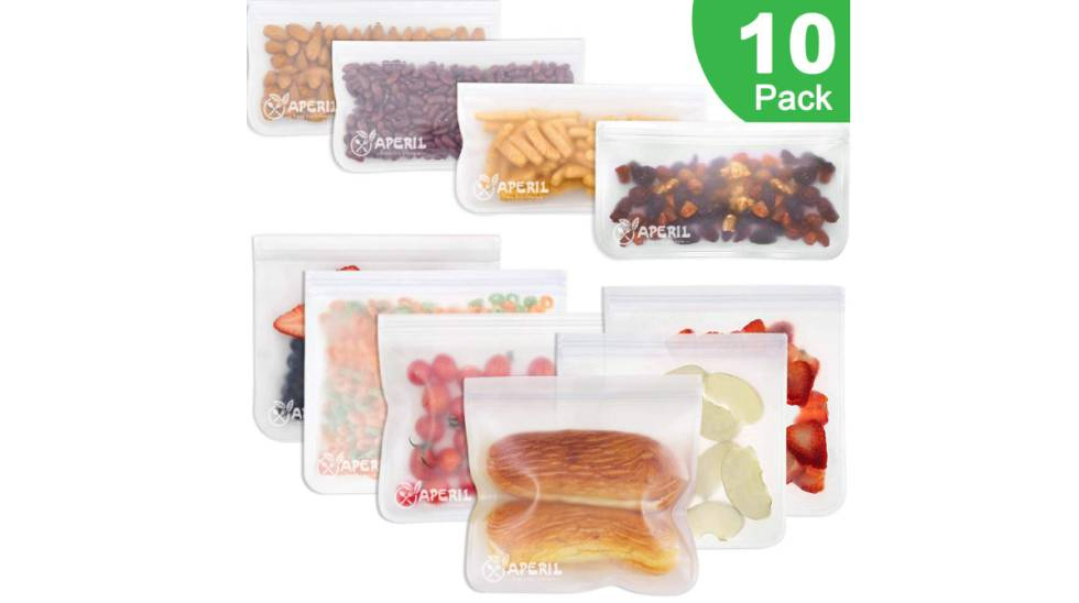 Lote de diez bolsas reutilizables para alimentos