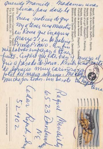Una de las postales escritas por Ana Mendieta a su madre desde Italia.