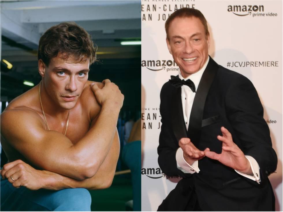 Retrato promocional de Jean Claude Van Damme tomado en París en 1988 y el actor fotografiado en el estreno de la serie 'Jean-Claude Van Johnson' en París en 2017.