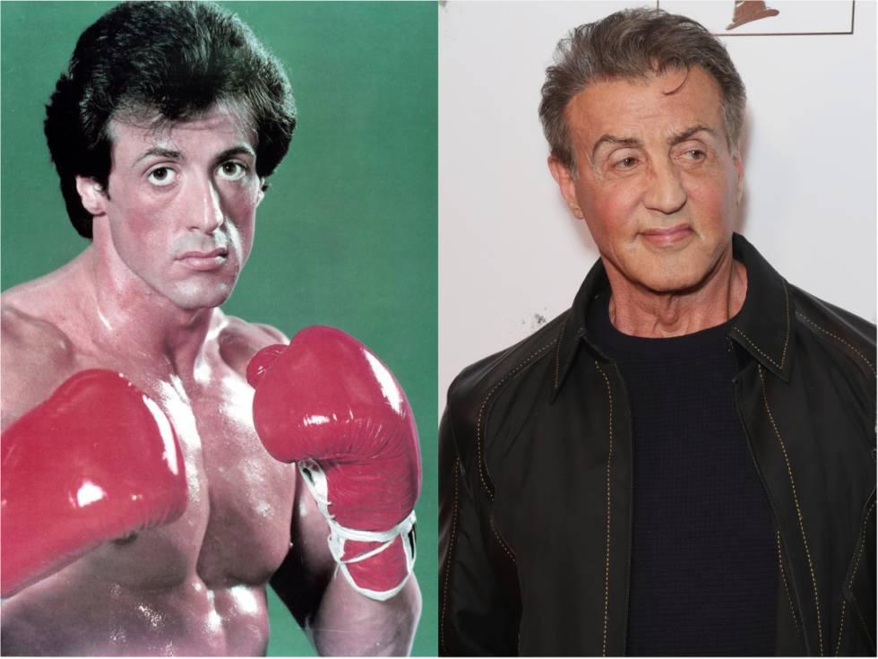 Sylvester Stallone en 'Rocky (1976), la película que le dio fama mundial, y en el estreno de 'One Night: Joshua Vs. Ruiz' en Beverly Hills en 2019.