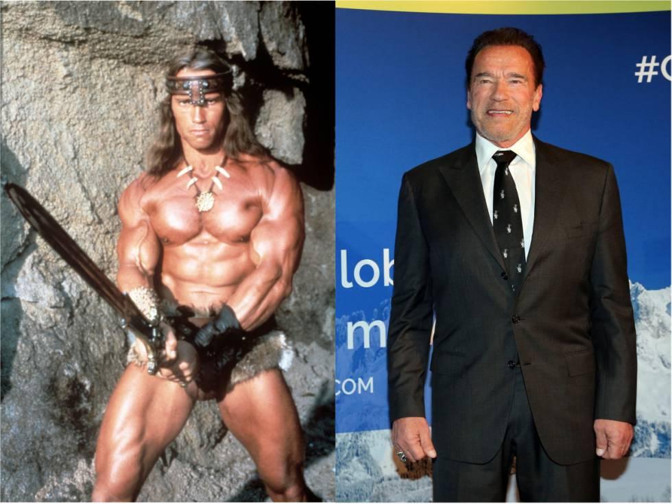 Arnold Schwarzenegger en 'Conan, el destructor' (1984) y en una cena benéfica en Austria en enero de 2020.
