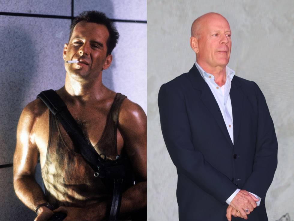 Bruce Willis en 'Jungla de cristal' (1988); a la derecha, durante un evento publicitario en Shangai en 2019.