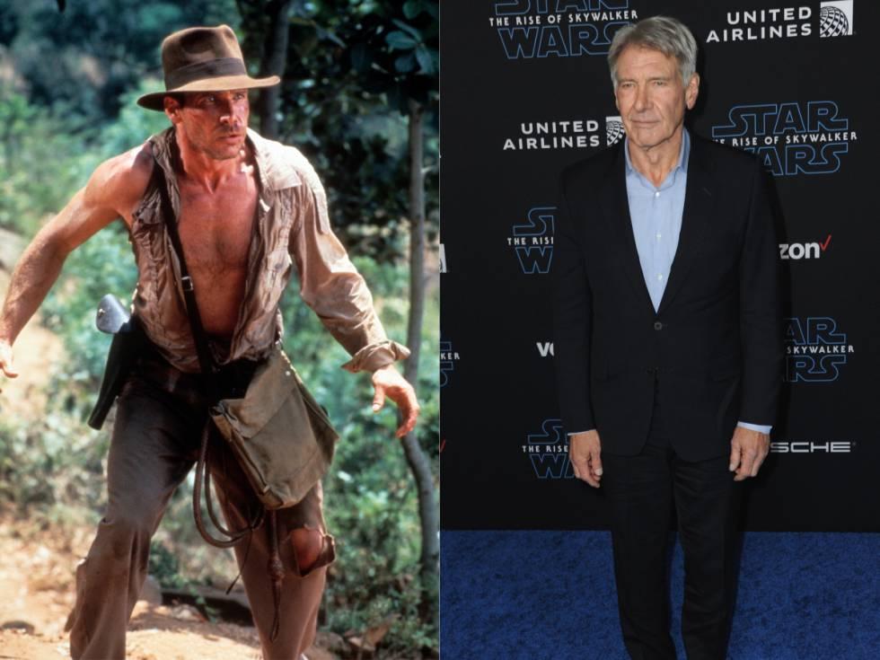 Imagen de 'Indiana Jones y el templo maldito' (1984); a la derecha, su protagonista, Harrison Ford, en el estreno de 'Star Wars: The Rise Of Skywalker' en 2019 en Los Ángeles.