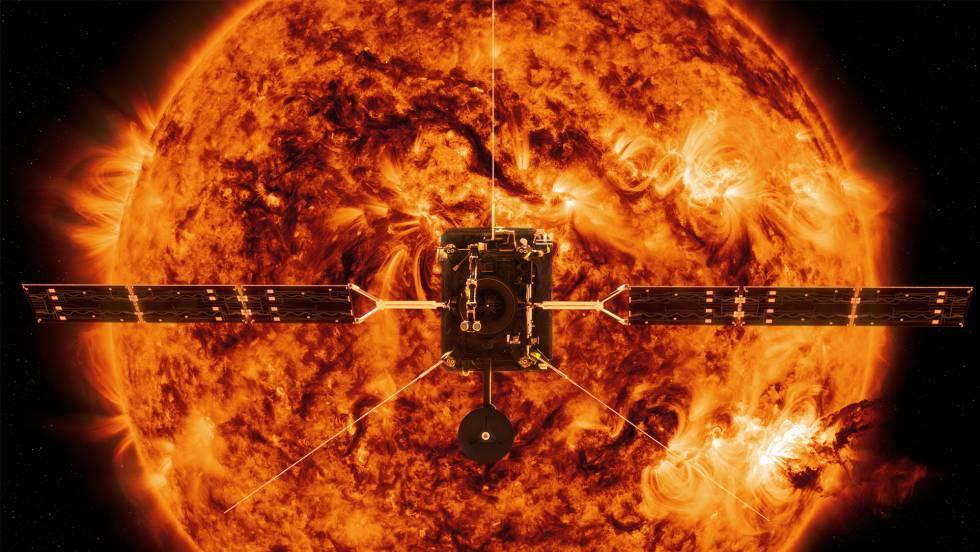 Representación de la 'Solar Orbiter' frente al Sol.