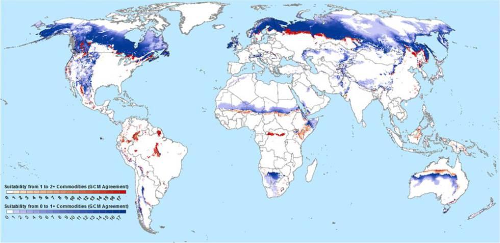 En un escenario sin reducción de emisiones, en las zonas en azul se podría sembrar al menos un cultivo, sobre todo trigo, patatas o maíz. En las rojas, dos o más.