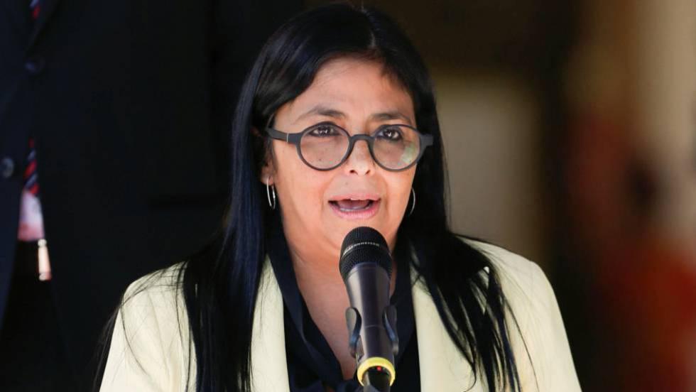 La vicepresidenta de Venezuela, Delcy Rodríguez, en un acto en el Palacio de Miraflores.
