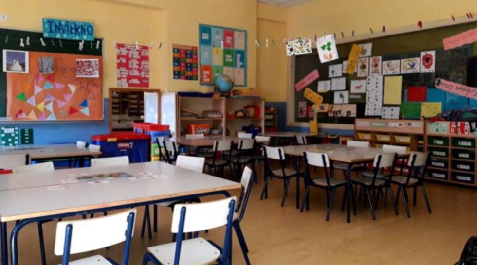 El aula de un colegio público de Madrid, en una imagen cedida por el Ayuntamiento.