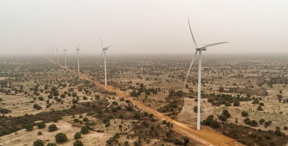 Parte del parque eólico inaugurado en Senegal este lunes.