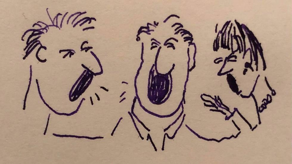Una ilustración de tres personas estornudando.