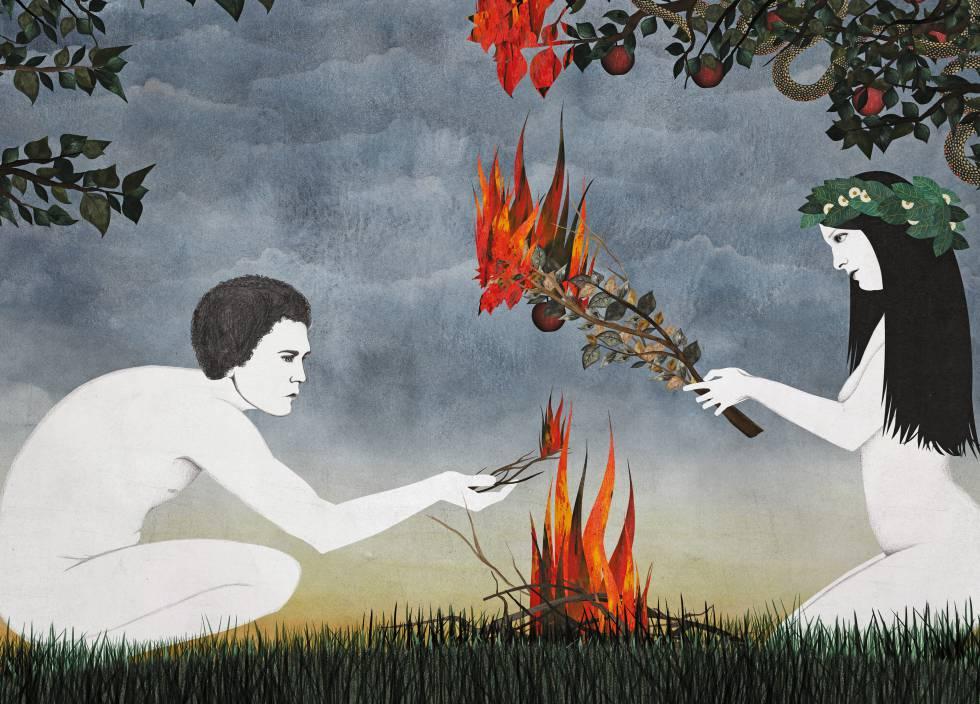 Ilustración de Adán y Eva de Sara Morante para el libro de Mark Twain en Impedimenta.